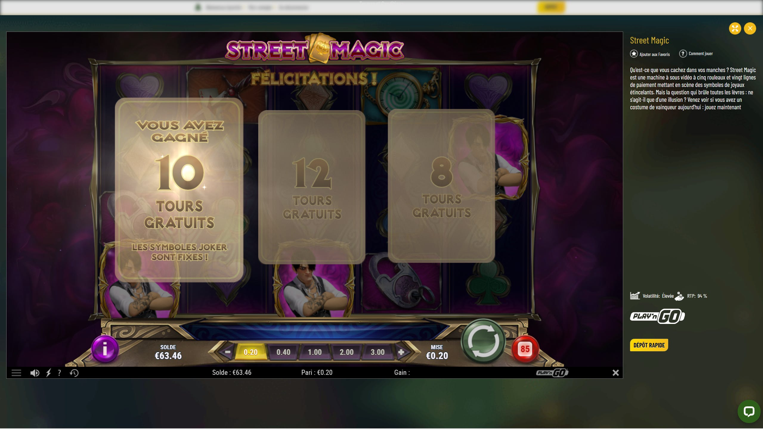 StreetMagic Play'n Go slot on MaChance casino gameplay FreeSpins