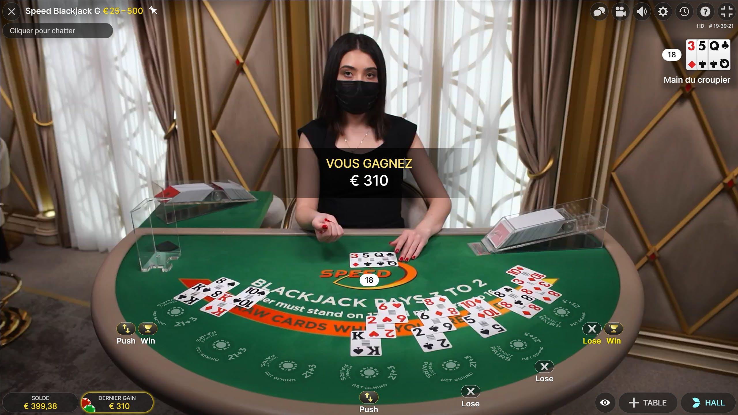 Huge win on Blackjack Speed HD by Evolution Gaming