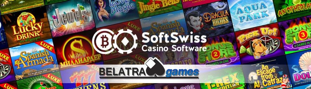 bannière publicitaire du partenariat entre belatra games et softswiss casino software