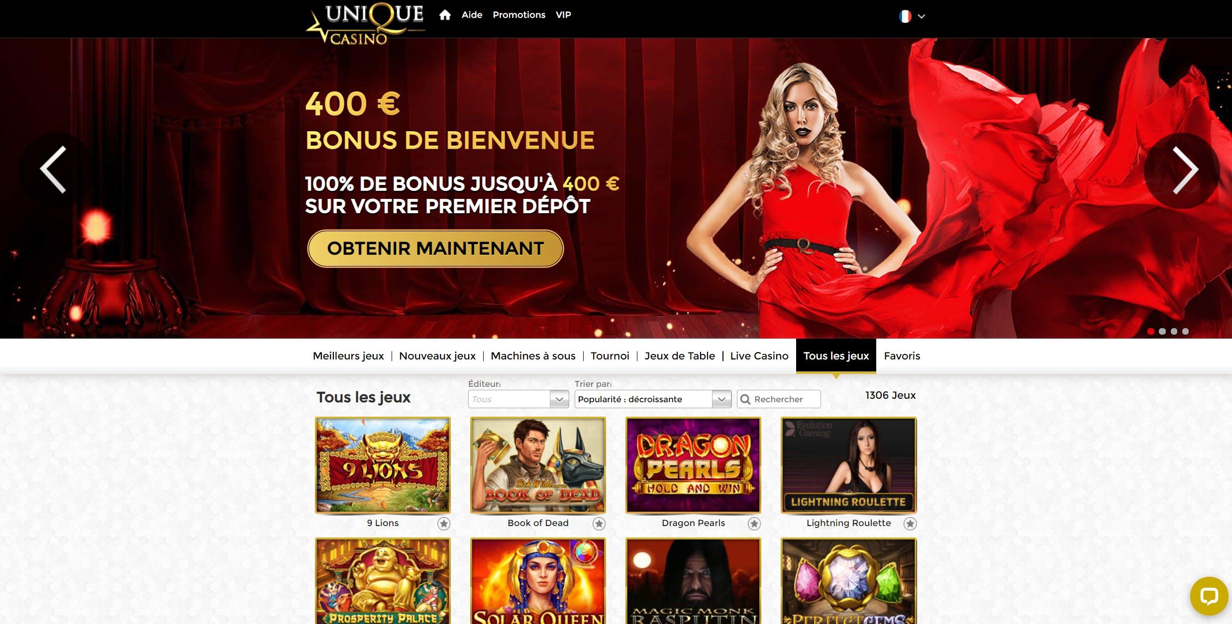 landing page unique casino