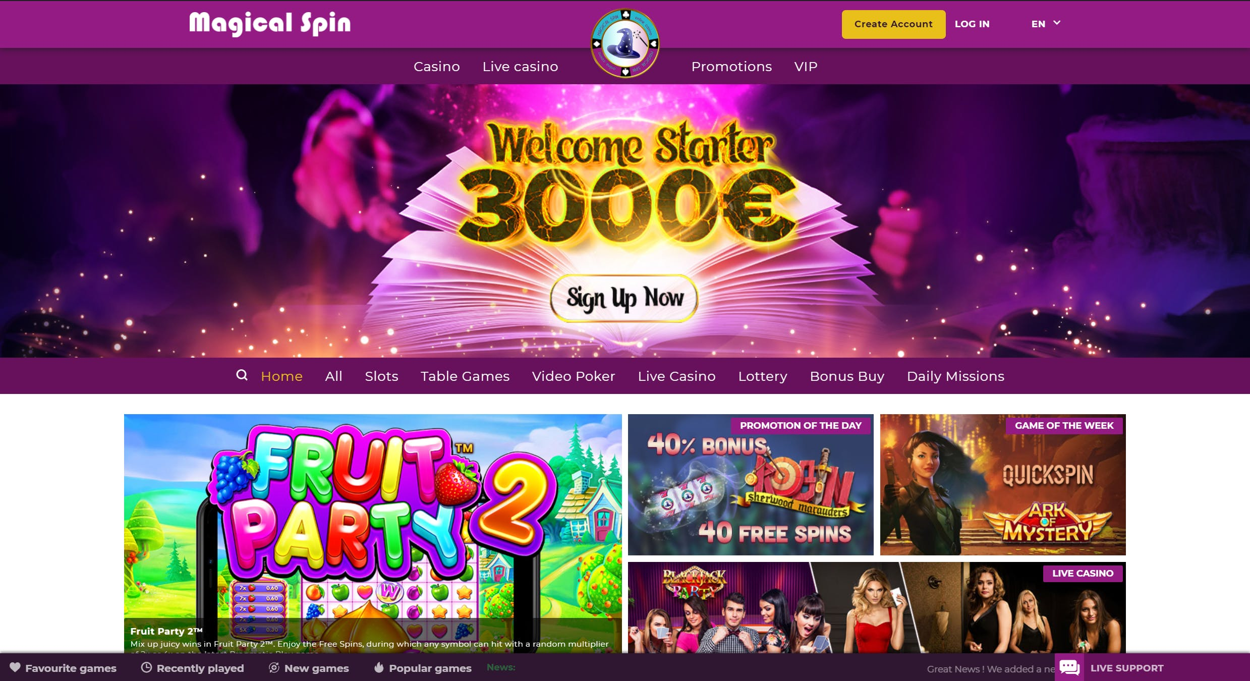 landing page magical spin hd fr
