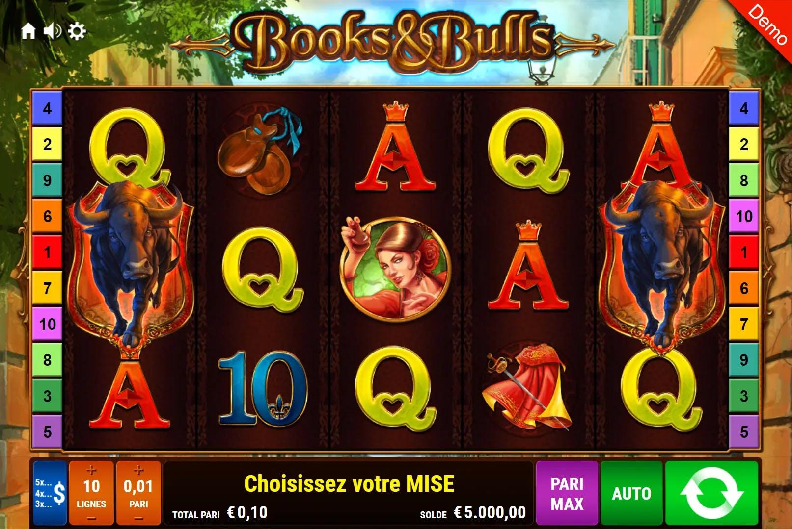 aperçu de la slot books and bulls de gamomat