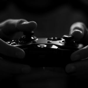 Grayscale photo of an Xbox controller