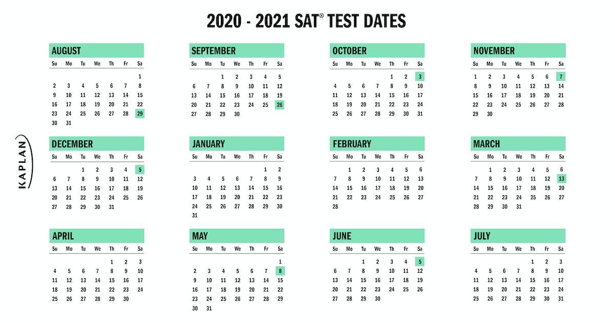 Sat Calendar 2021 SAT Test Dates 2020   2021 | Kaplan Test Prep