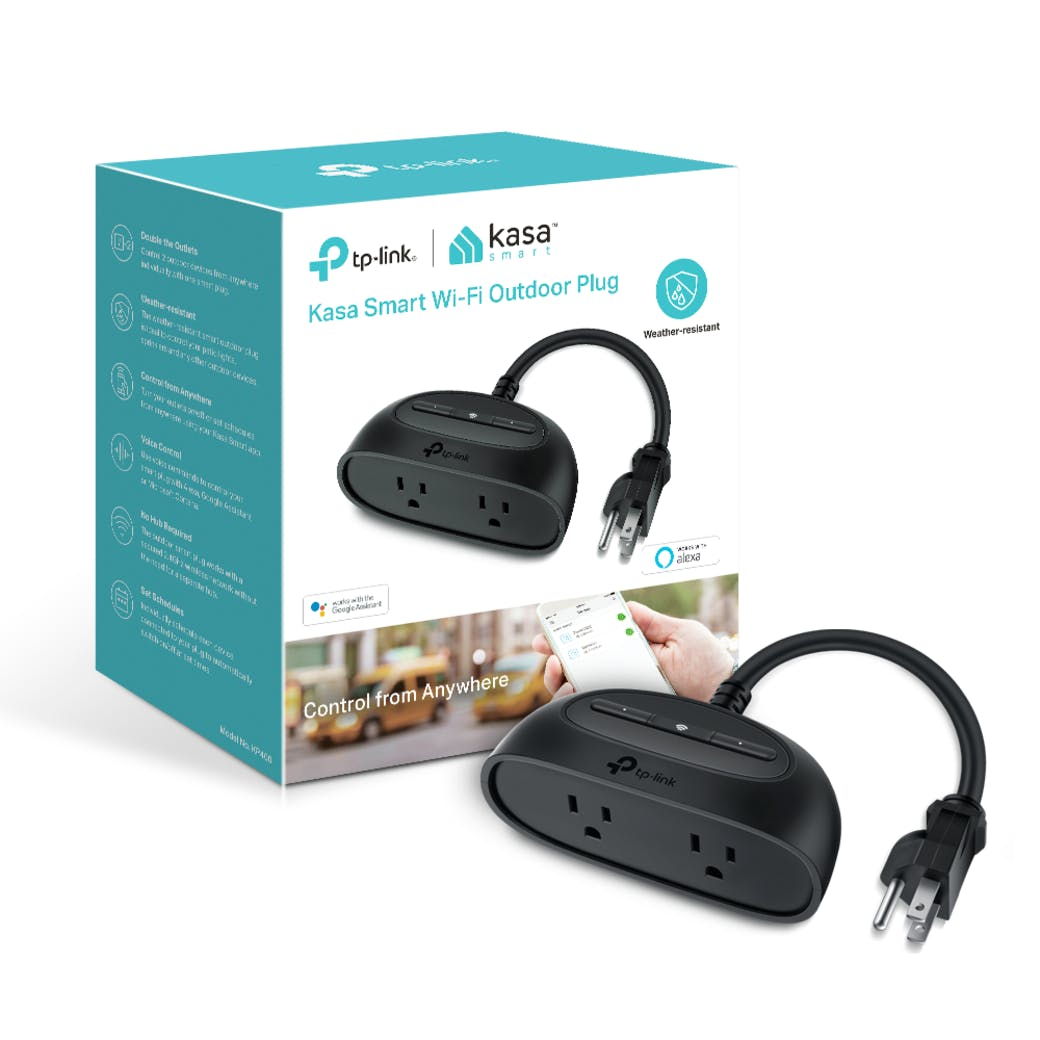 Kasa Smart Wi-Fi Outdoor Plug Packaging with product