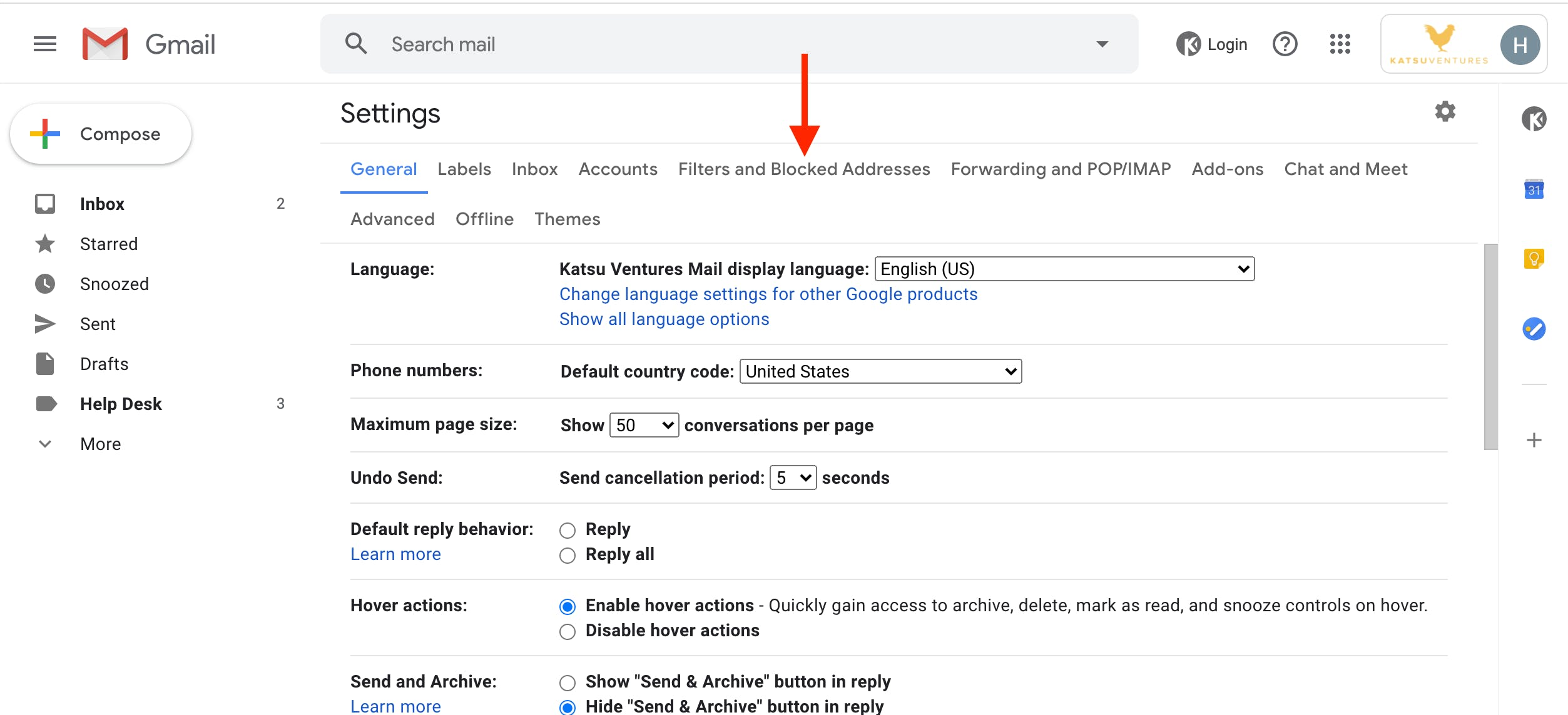 Choose Filters and Blocked Addresses