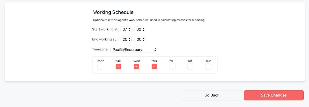 Setting working schedule