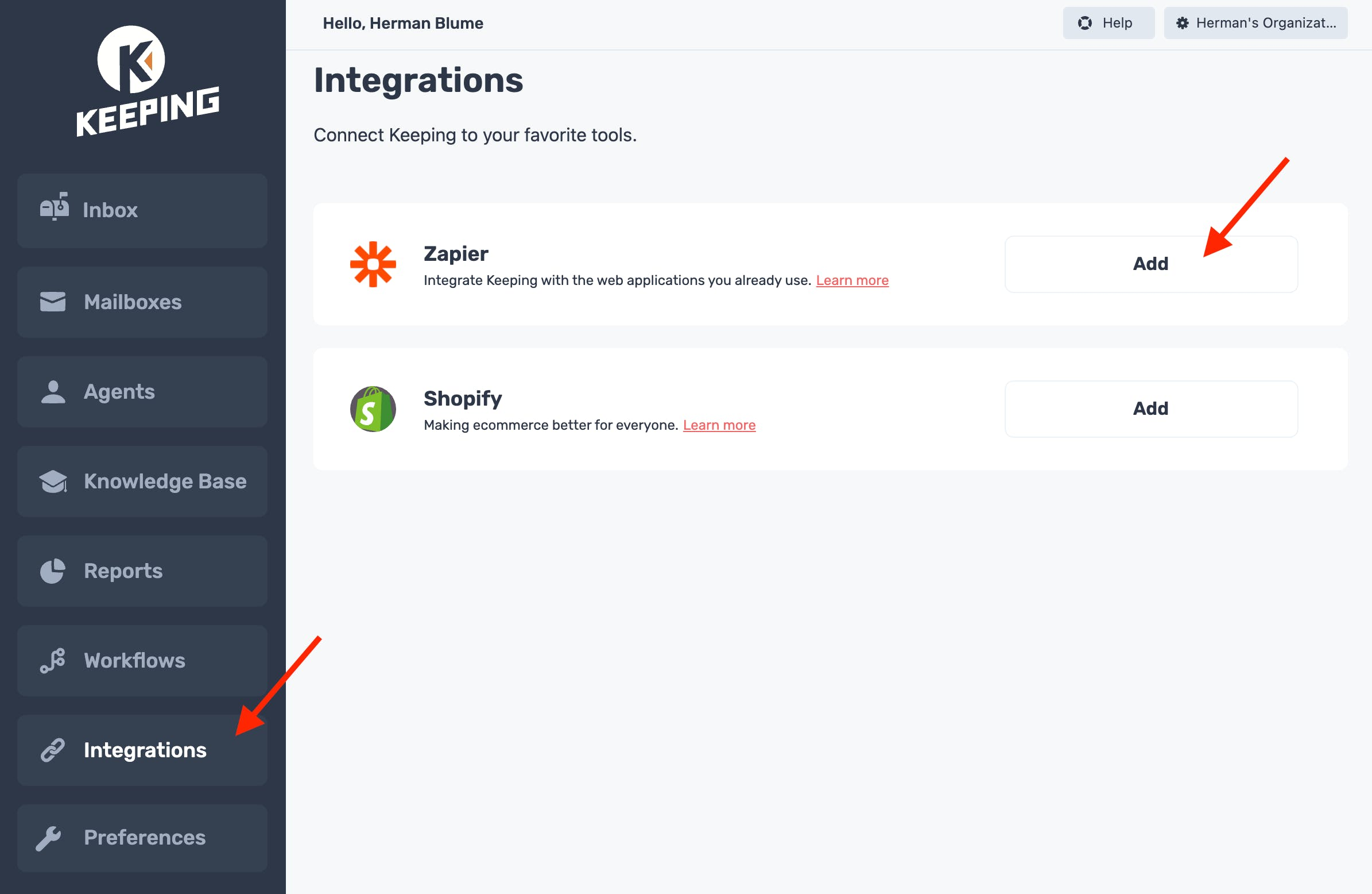 Add the Zapier integration on Keeping