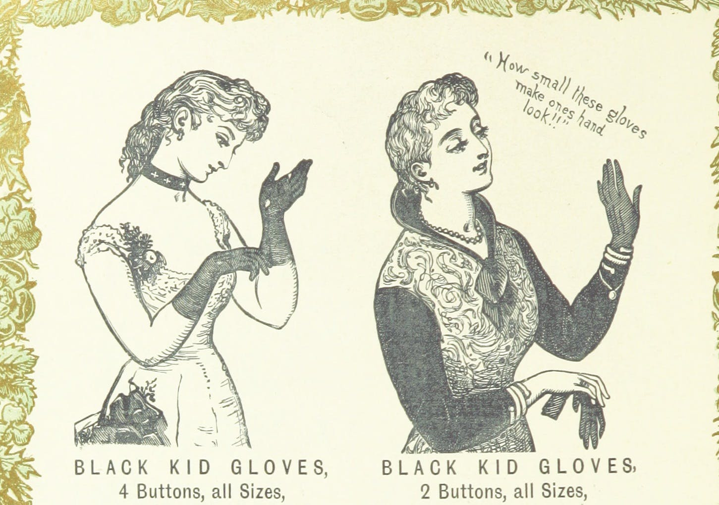 Two women trying on gloves and saying how small they make their hands look