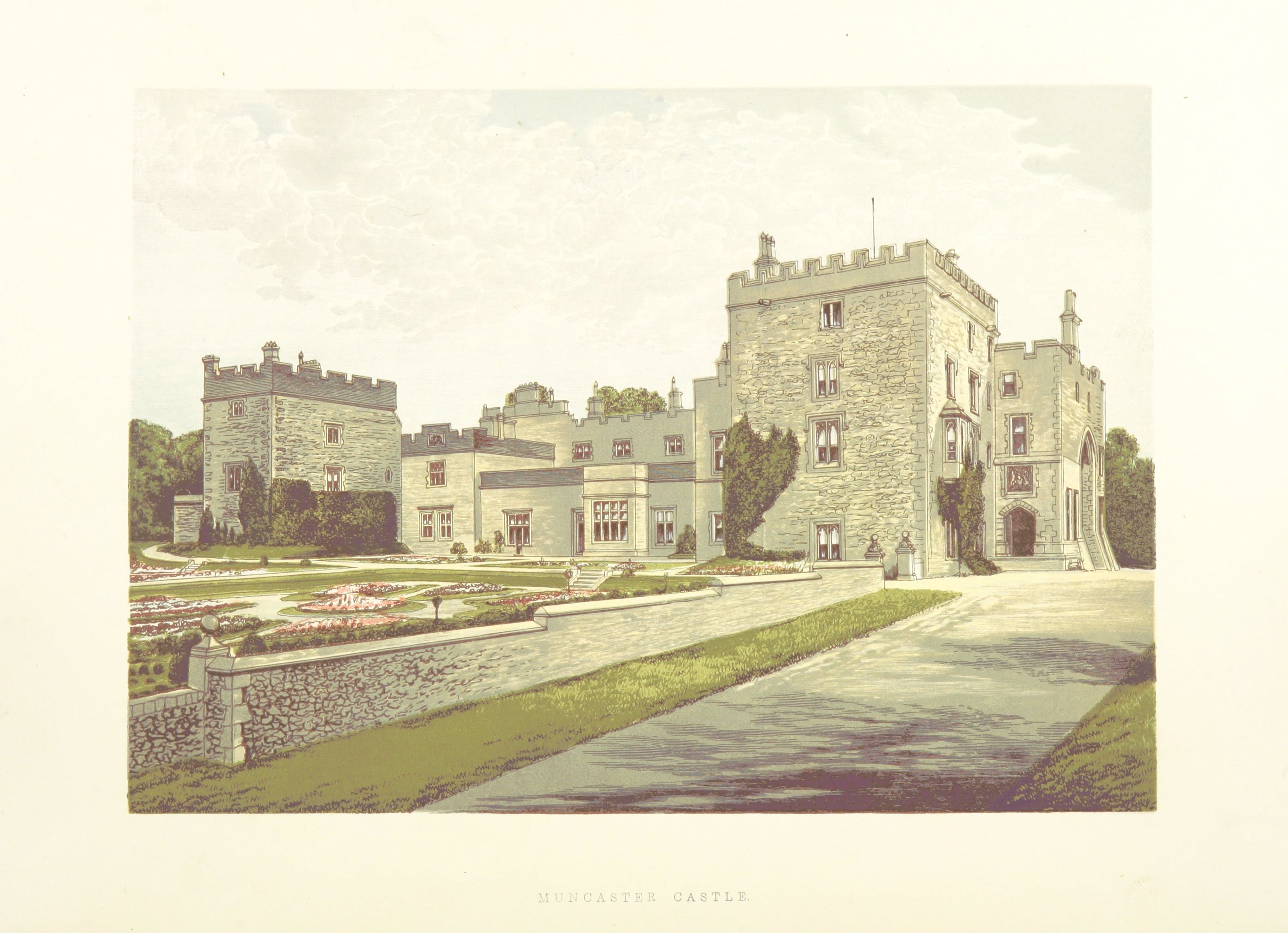 A color drawing of Muncaster Castle in England, including formal gardens