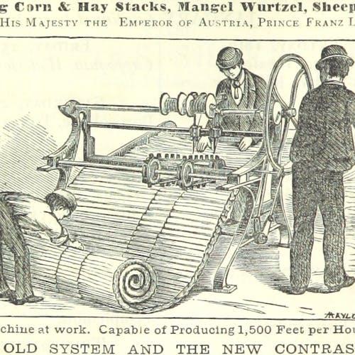 Victorian-era men working at a machine