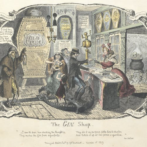 1829 illustration of people at an illicit gin joint.