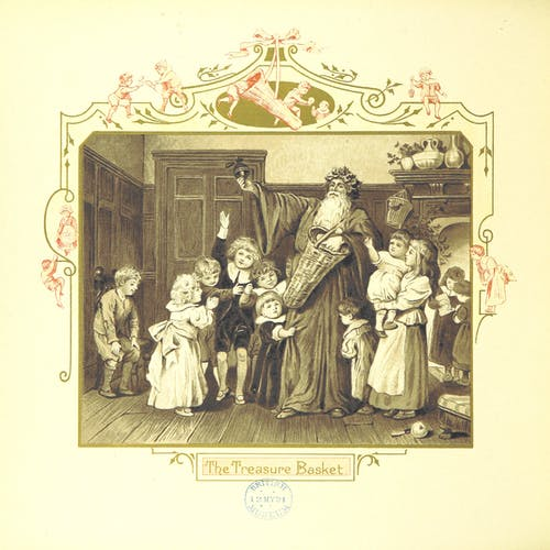 Children gathered around Santa Claus and his treasure chest.
