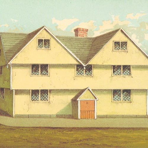 A drawing of a 17th-century wooden American home, with three stories, two gables, a chimeny at the back, and an orange front door.