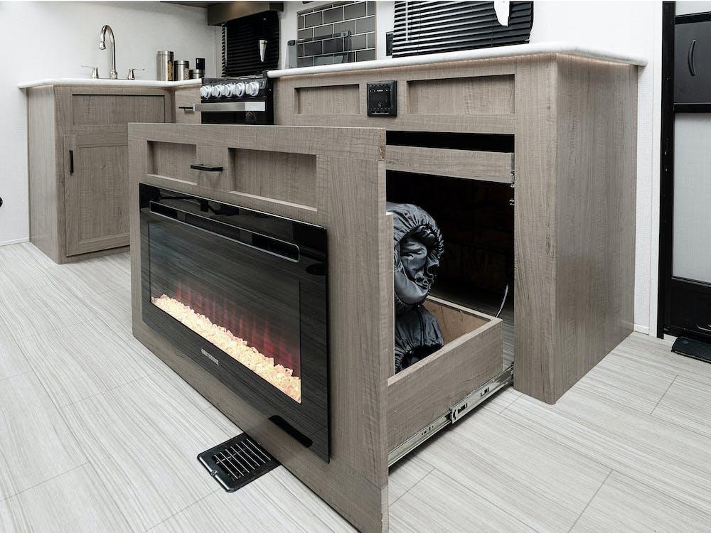 243RB fireplace storage