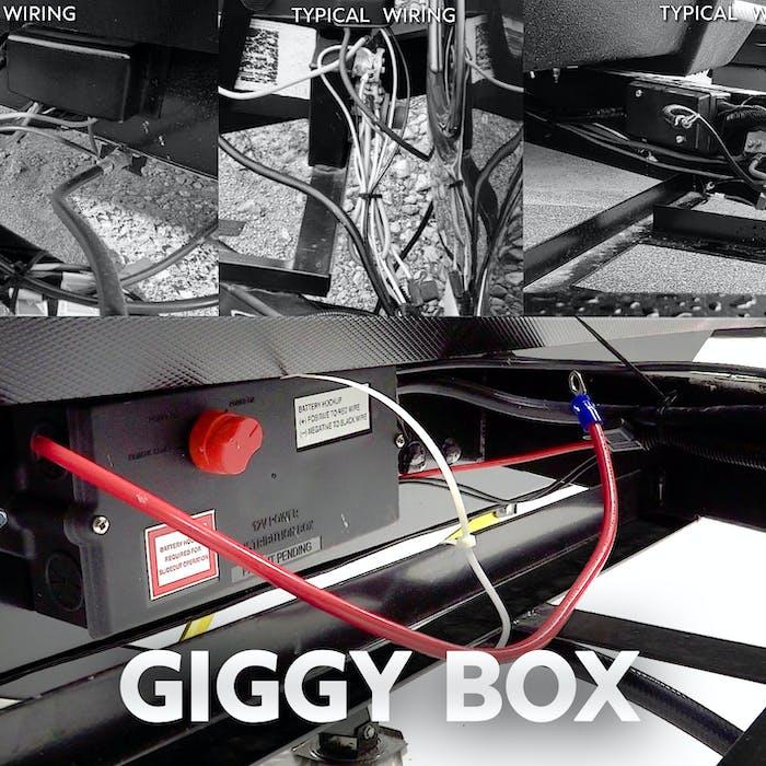 photo of Keystone's Giggy Box installed on a travel trailer frame