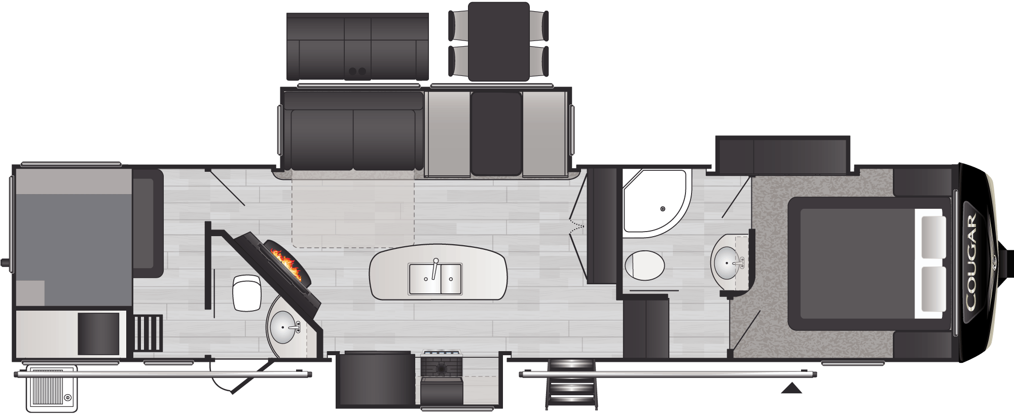 Floor plan: 2021 Cougar 364BHL