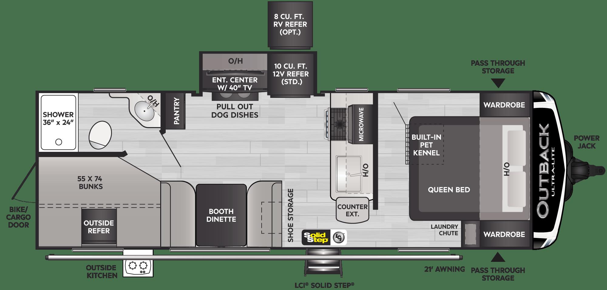 Floorplan of RV model 244UBH