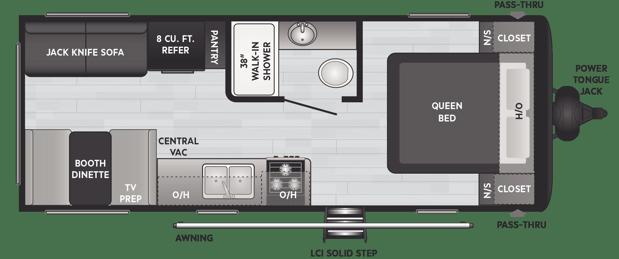 Floorplan of RV model 20RDWE