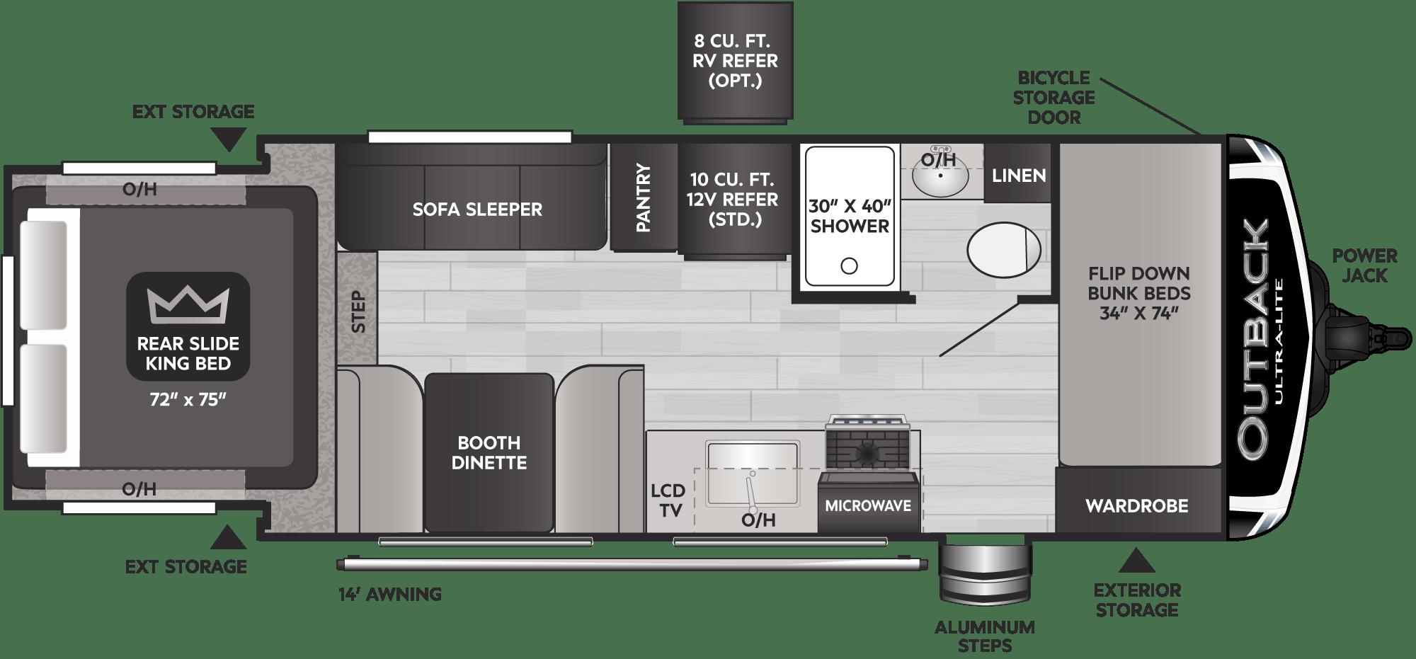 Floorplan of RV model 210URS