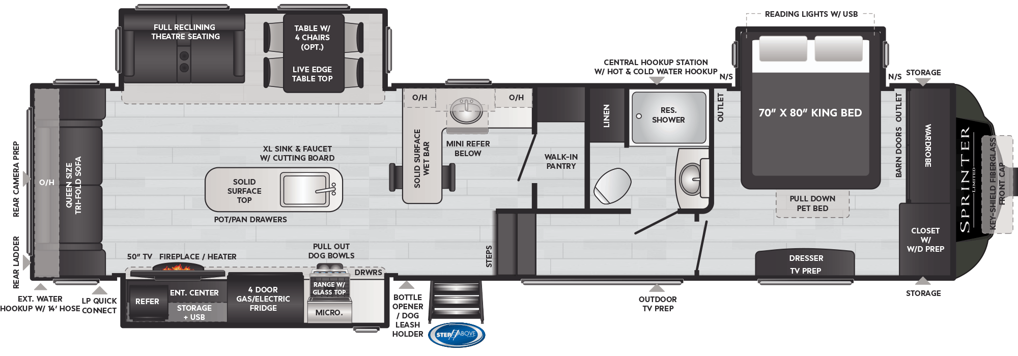 Floor Plan: 2020 Sprinter 3560FWRLB