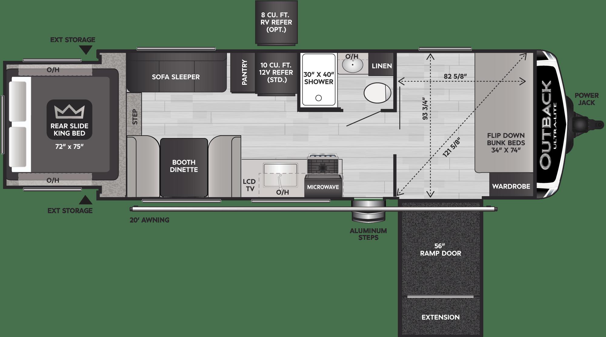 Floorplan of RV model 240URS