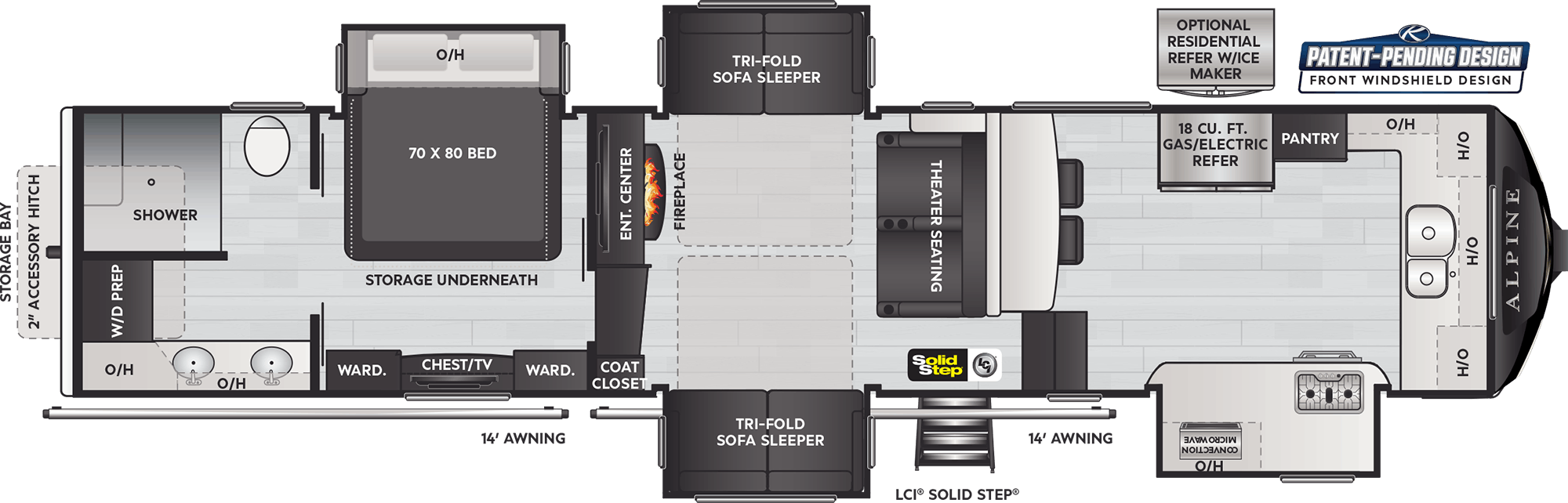 Floor Plan: 2021 Alpine 3790FK