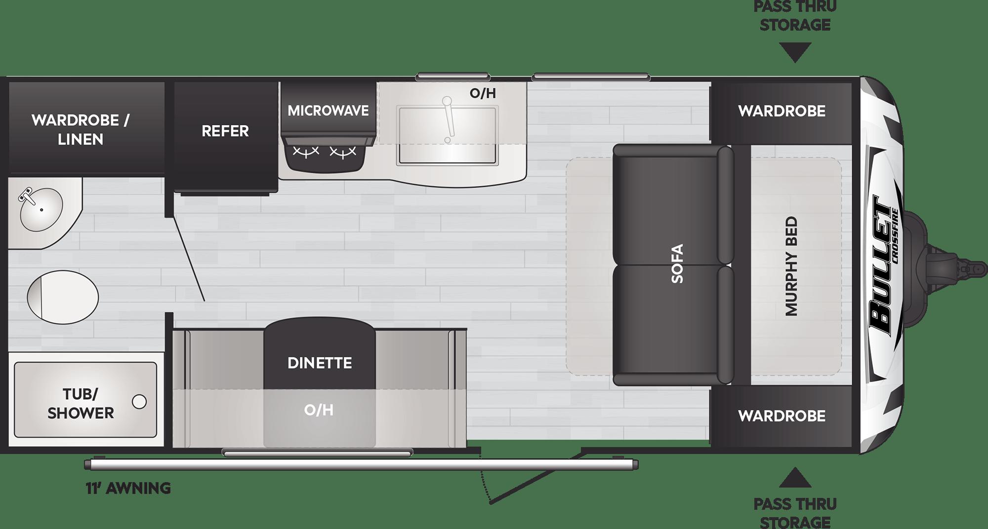 Bullet Crossfire Comfort Travel Trailers Model 1800rb Floorplan Keystone Rv