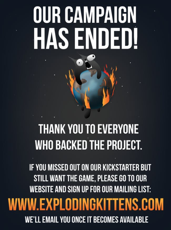 Example of Exploding Kittens branded backer page