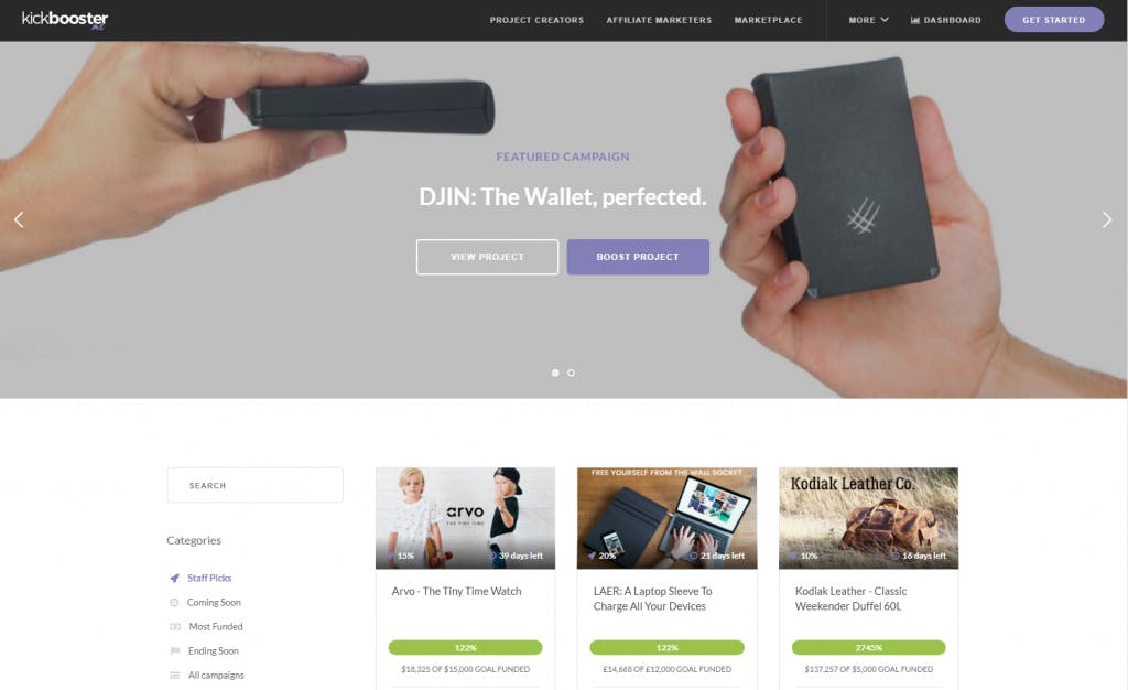 Kickbooster Marketplace for crowdfunding projects
