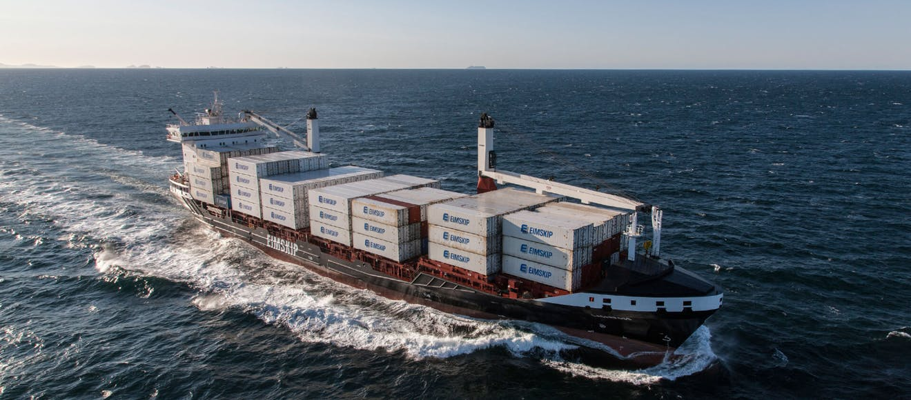 Eimskip cargo vessel out at sea