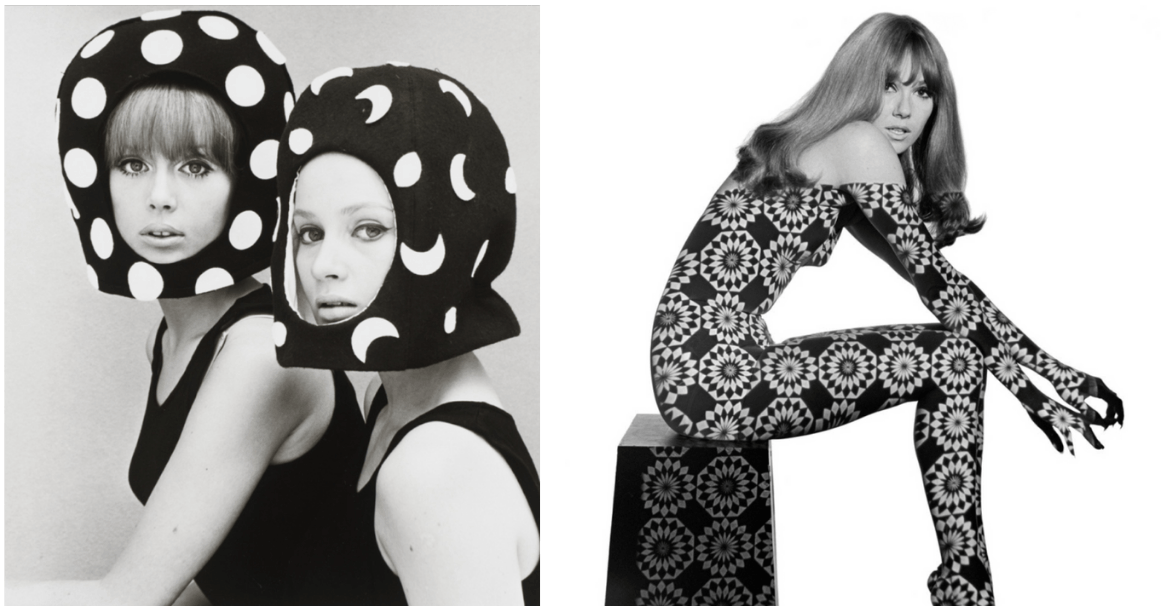 Two capsule lined felt helmets, and Patterned projection on a model, both by photographer John French, V&A.