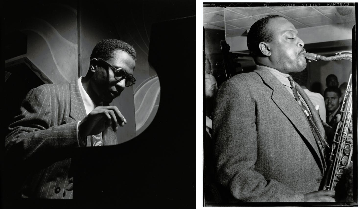 Portrait of Thelonious Monk, Minton's Playhouse, New York, c.1947, and Jazz tenor saxophonist Ben Webster at Famous Door, New York, c. 1947, photos by William P. Gottlieb, Public Domain