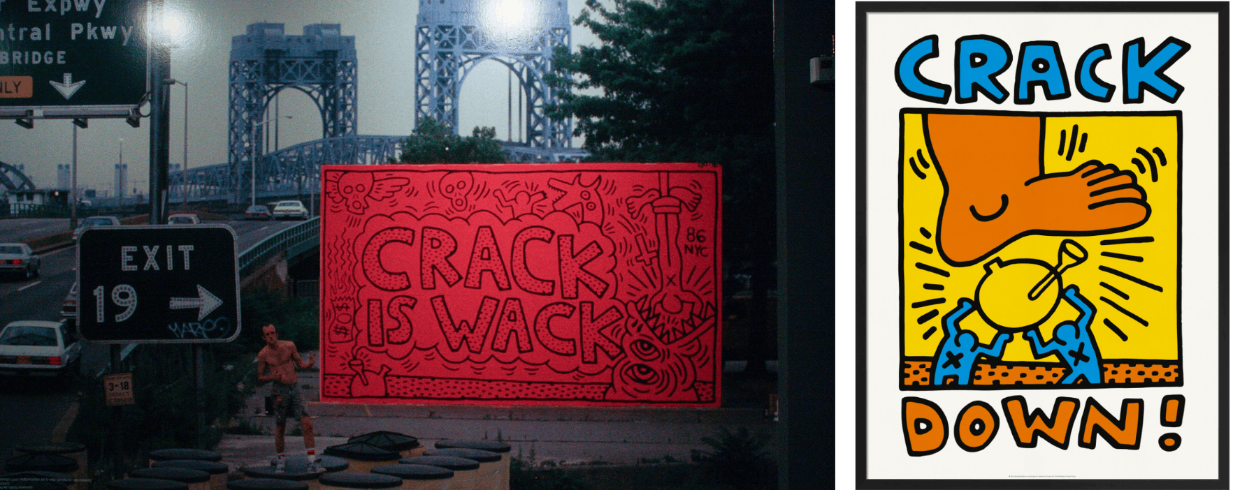 Keith Haring presenting his 'Crack is Wack' mural on Harlem River Drive, East Harlem 1986, Creative Commons, and 'Crack Down! 1986' poster designed by Keith Haring
