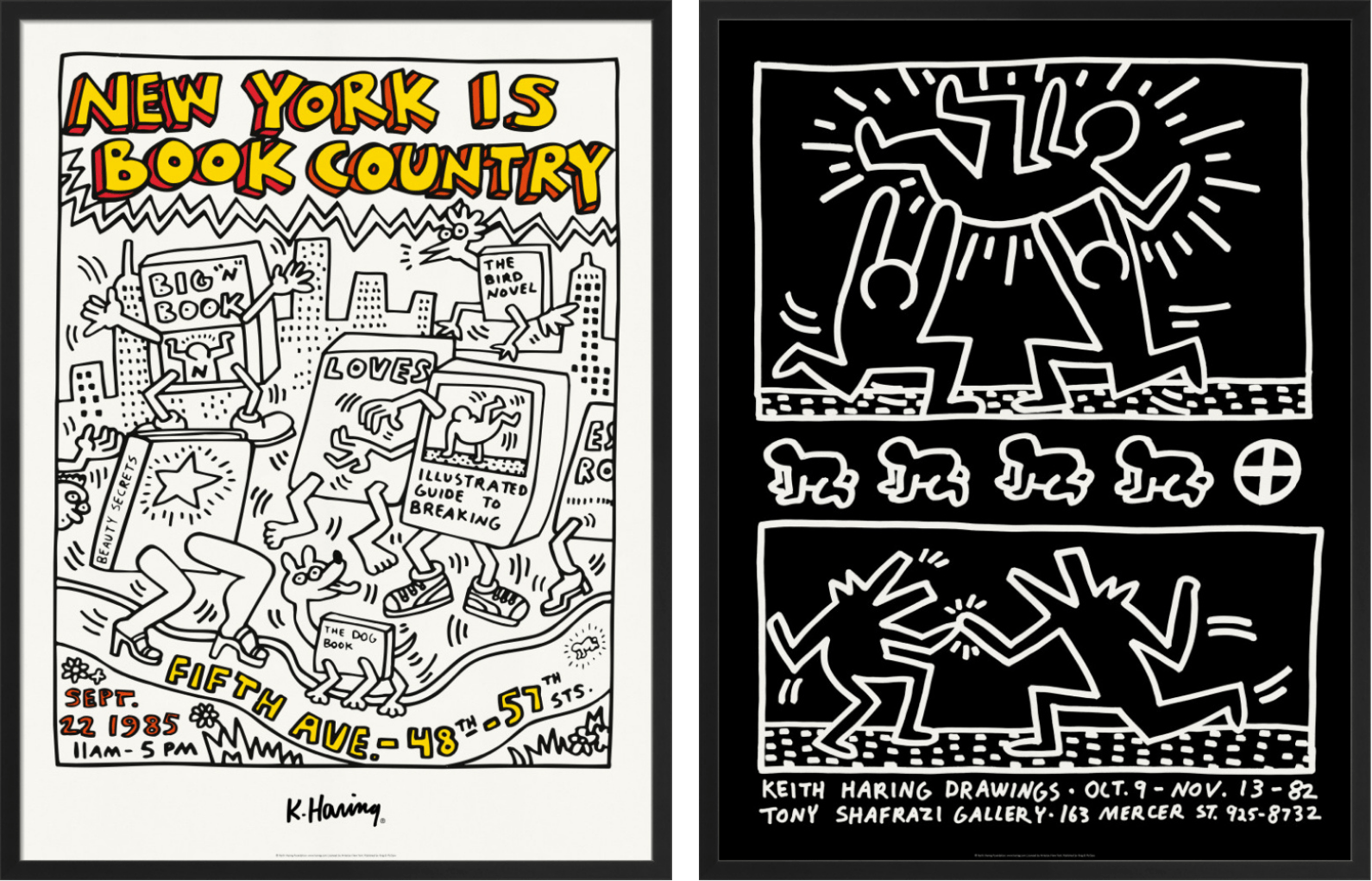 'New York is Book Country 1985', and 'Keith Haring Drawings 1982', © Keith Haring Foundation, licensed by Artestar New York
