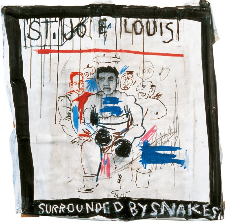 St. Joe Louis surrounded by Snakes, 1982, by Jean-Michel Basquiat