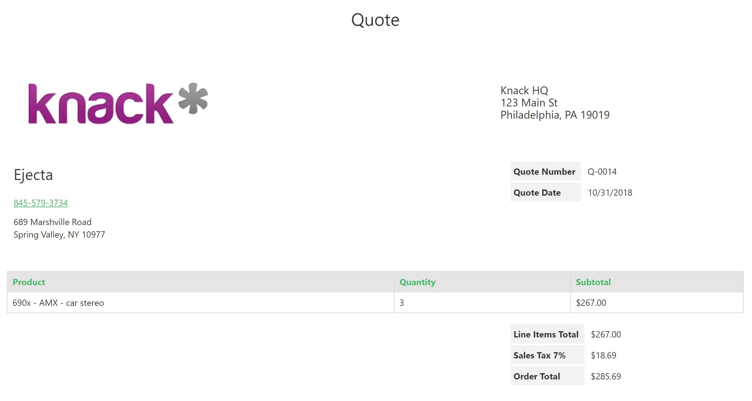 Create your own printable quote or order page with your logo and billing info.