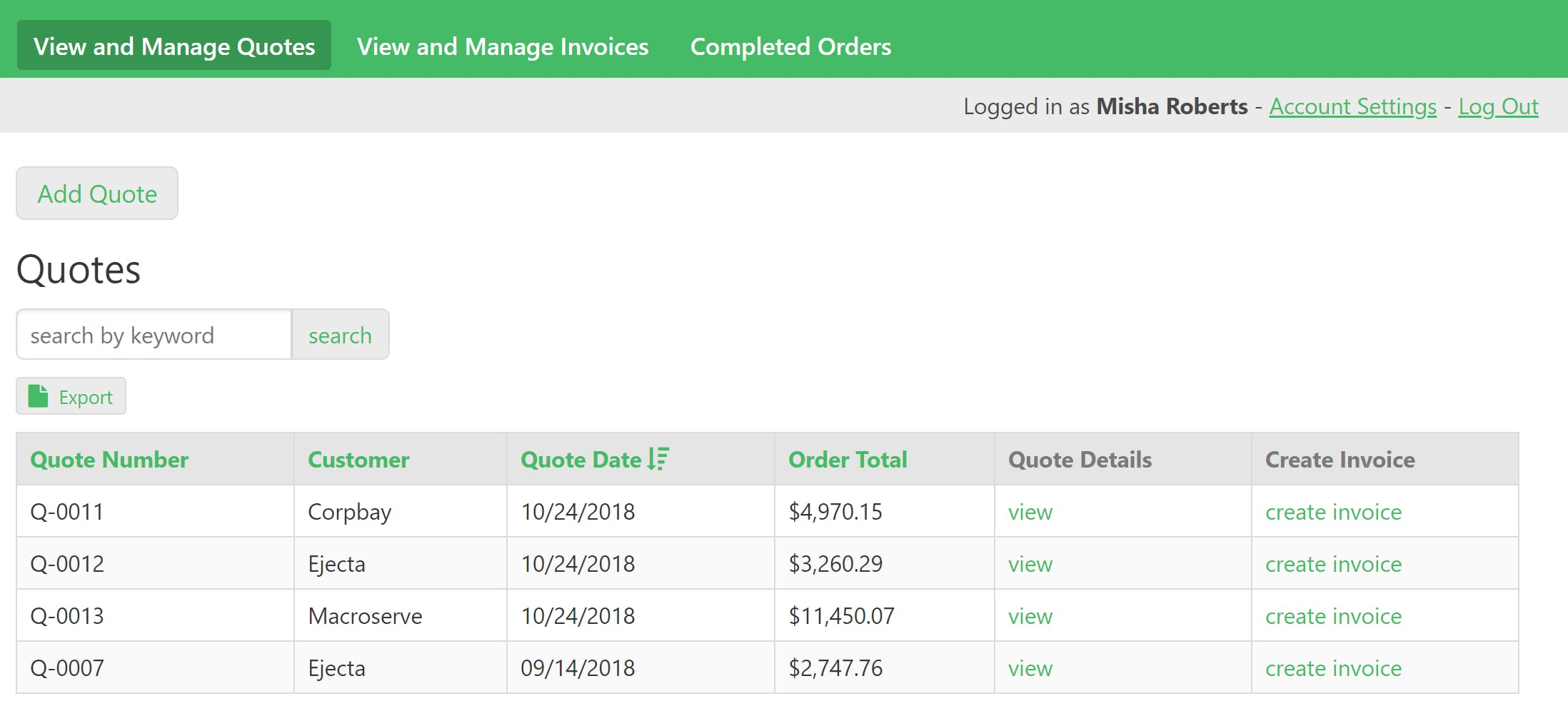 The sales portal splits quotes, invoices, and completed orders on their own pages for easy viewing.