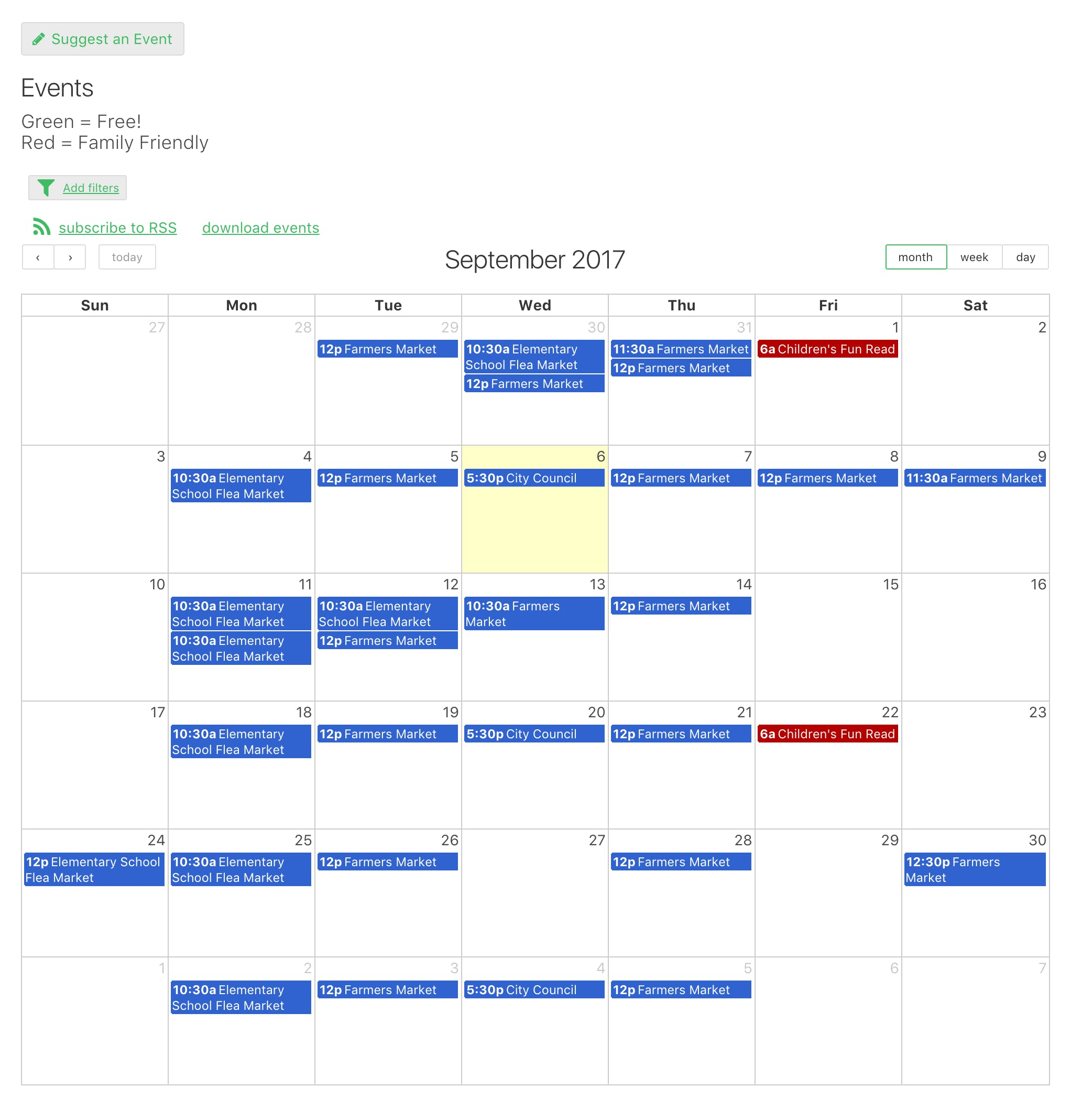 The public calendar can be viewed right from your own website with categorized and color coded events. The community can recommend events to add.