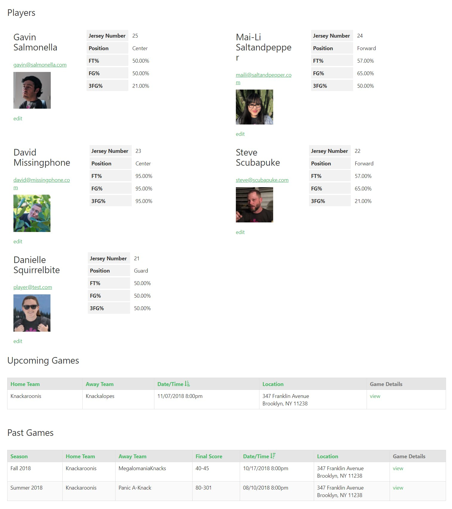 Coaches log in to view their players and games.