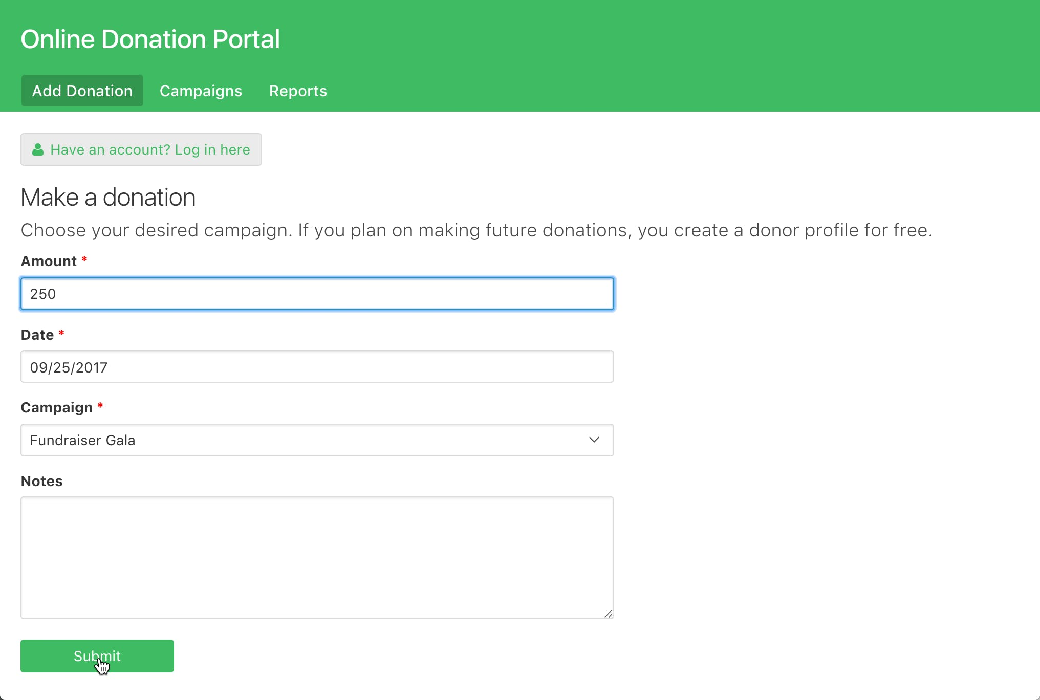 Users can fill out a simple donation form without having to log in.
