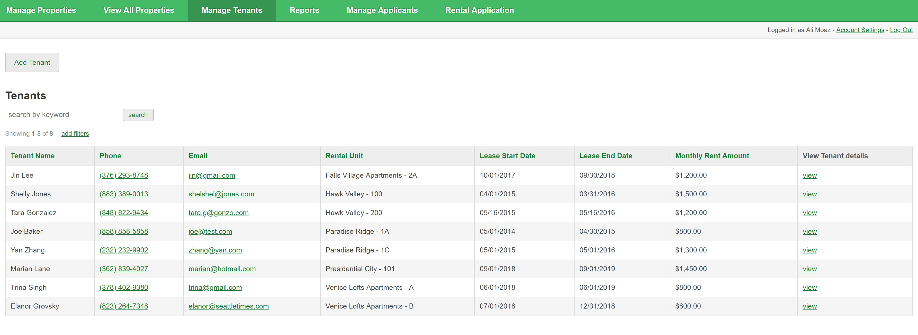 Property managers can see all their tenants in one place, including key details such as lease dates and monthly rent amounts.