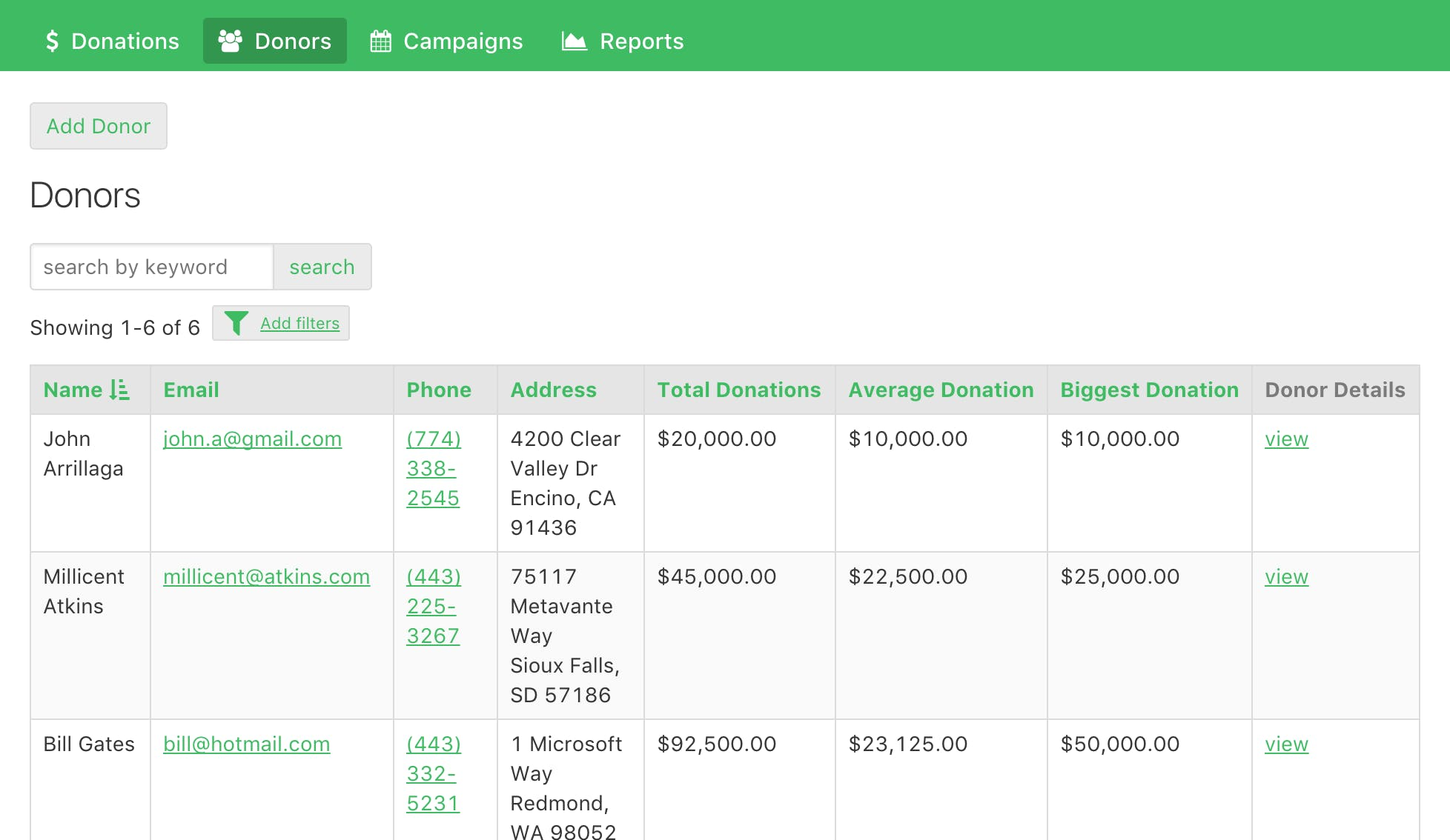 View each donor's donation history and add any relevant notes for that donor.