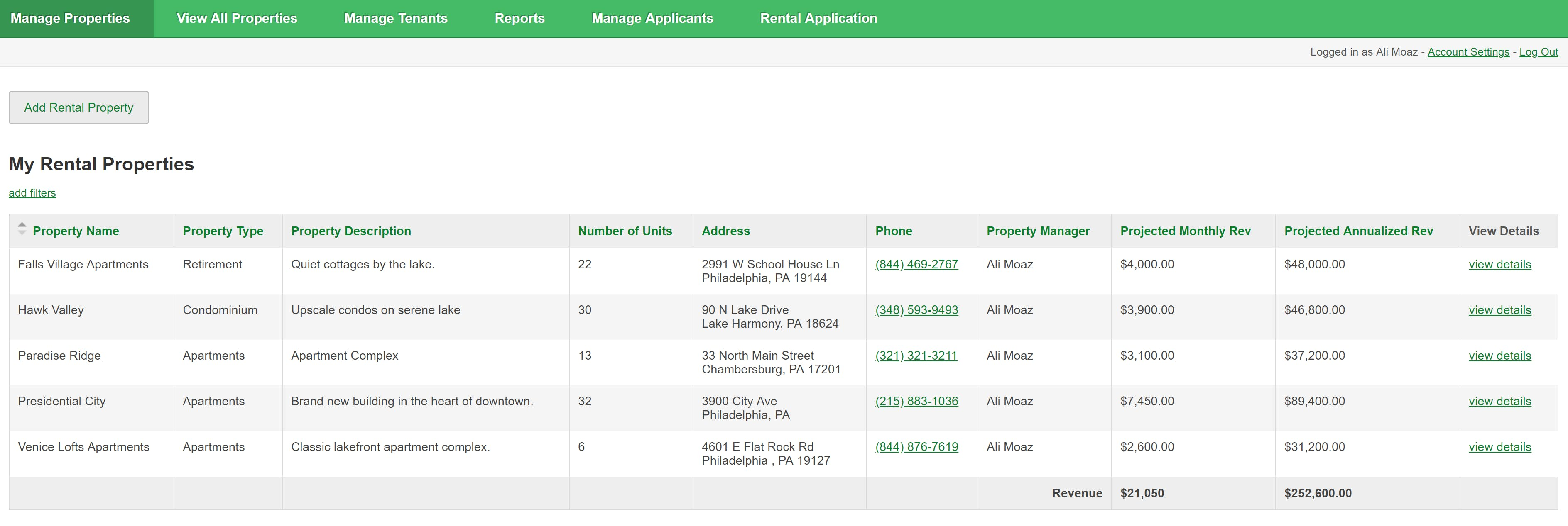 The property manager homepage displays each manager's properties. They can view key details and select a property to see the units.