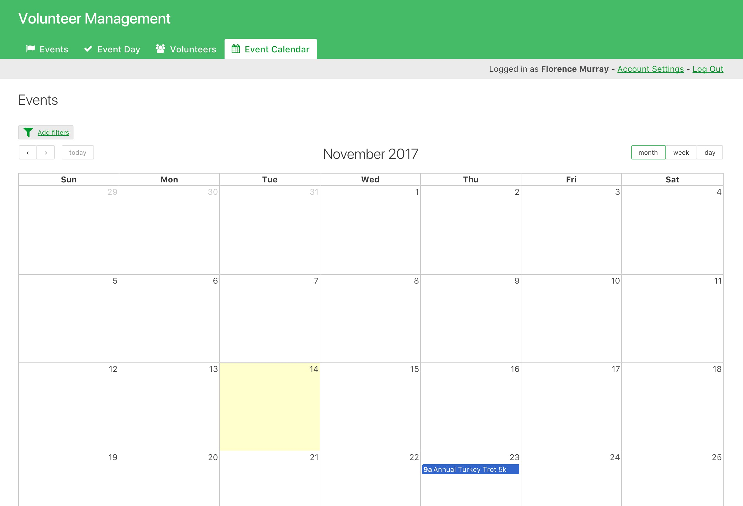 Admin portal, event calendar.