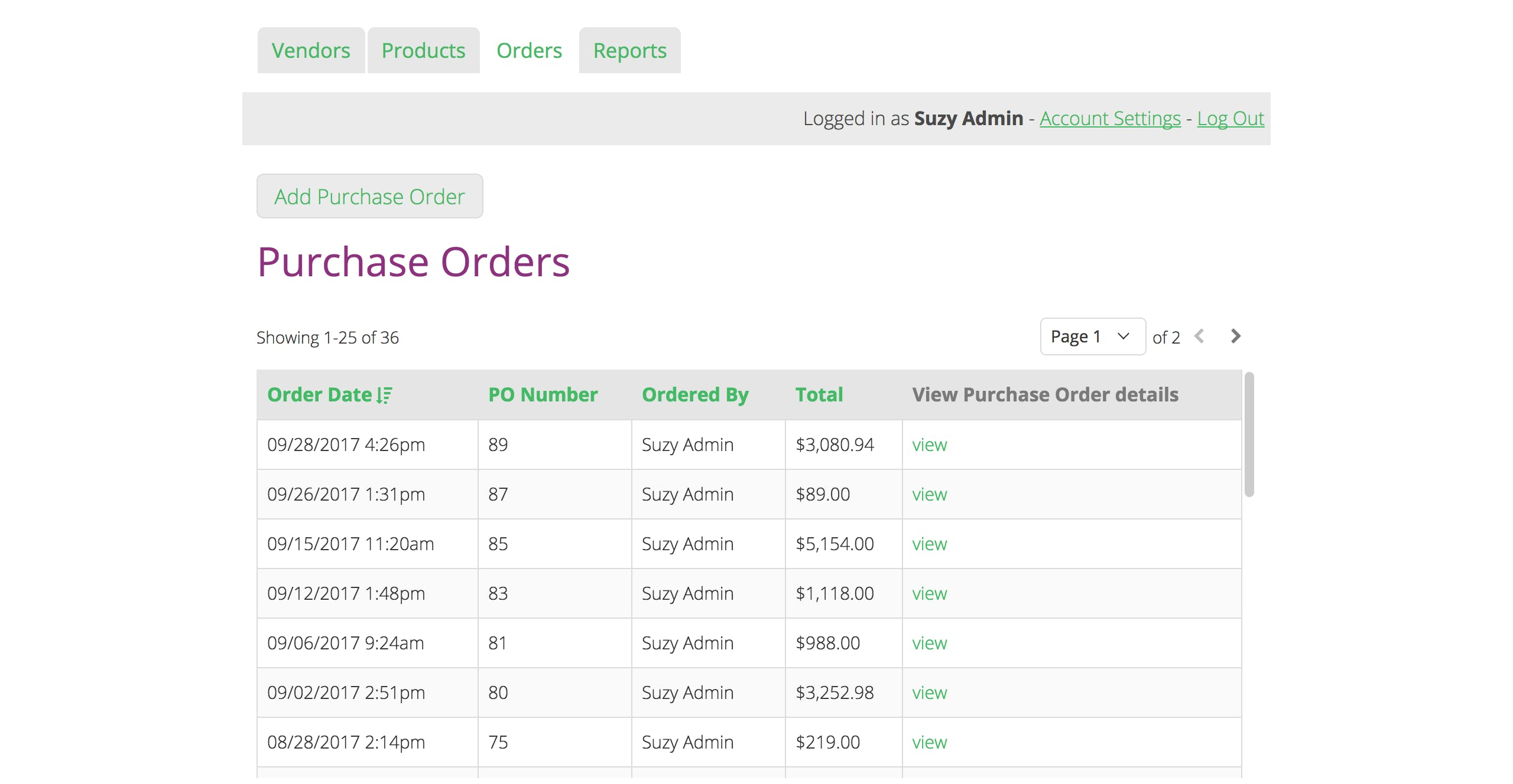Users can log in and add and manage purchase orders.