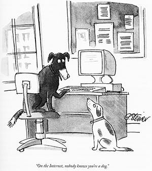 Peter Steiner's cartoon, as published in The New Yorker