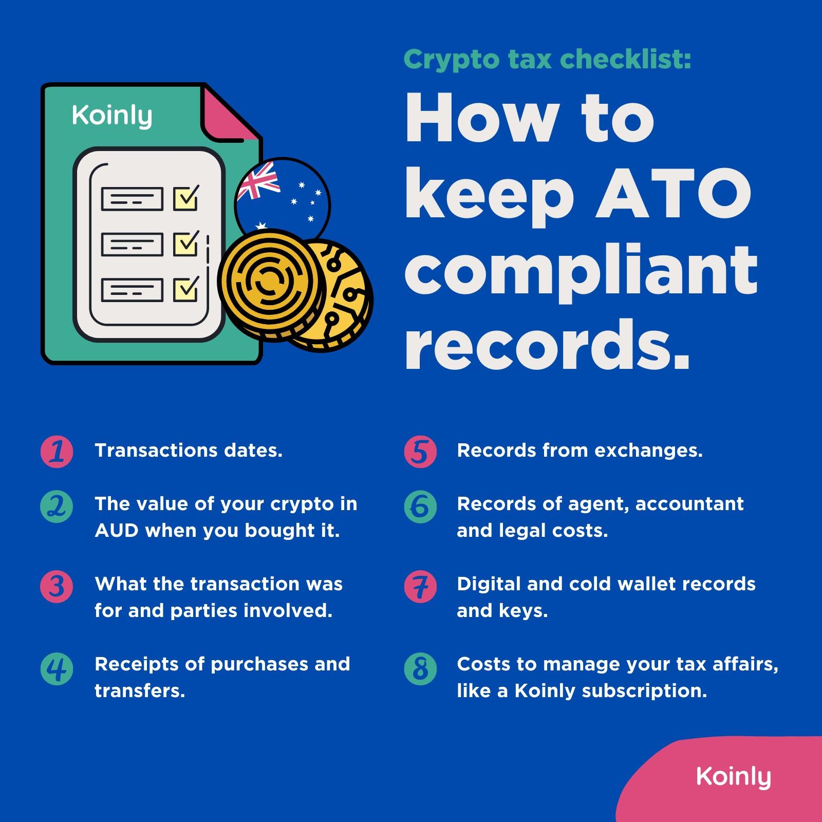 How to keep crypto tax records for Australia's ATO
