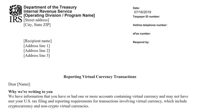 IRS virtual currency transactions report