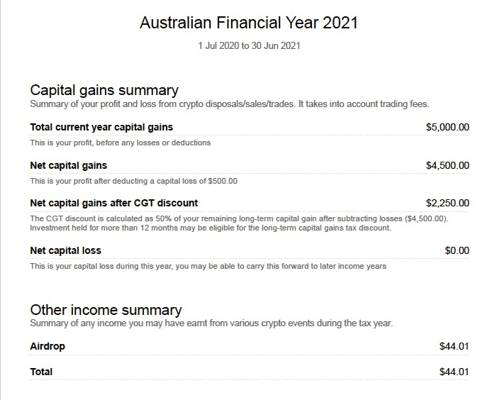 Koinly Crypto tax report for Australian's following ATO guidelines